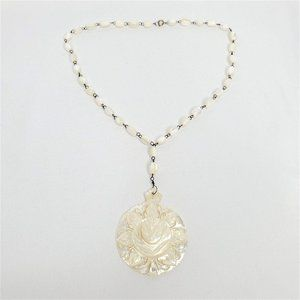 Mother of Pearl Hand Carved Pendant Necklace